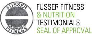 Stamp looking logo for Fusser Fitness & Nutrition testimonials.